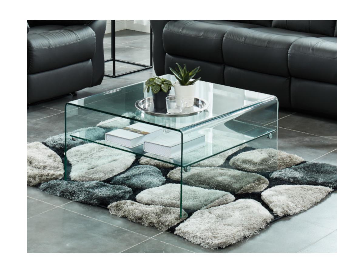 Quadratischer Couchtisch Glas STILEOS
