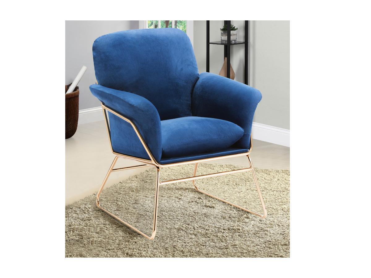 Sessel mit sichtbarer Metallstruktur VALDELIO - Samt - Dunkelblau