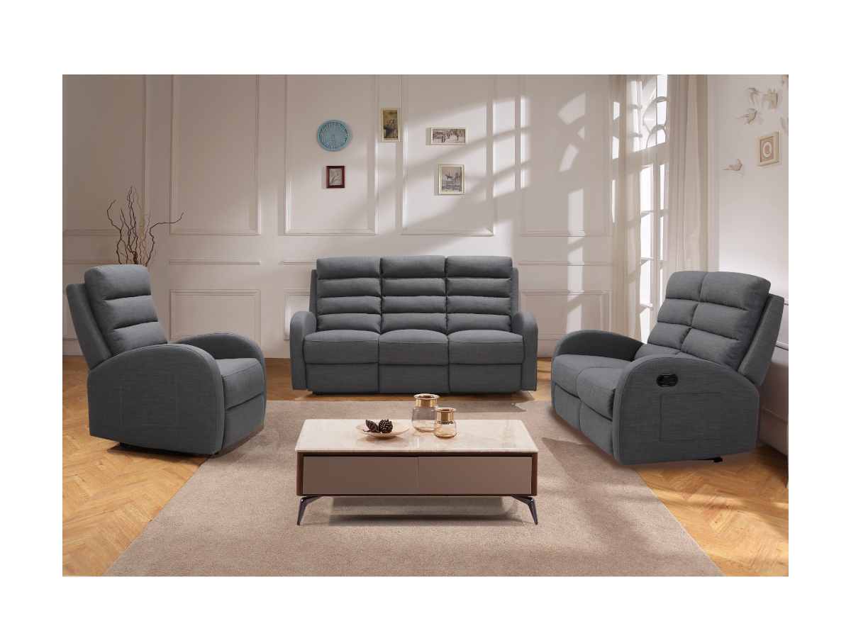 Kauf-Unique Relaxsessel Fernsehsessel GIORGIA - Stoff - Grau 536585