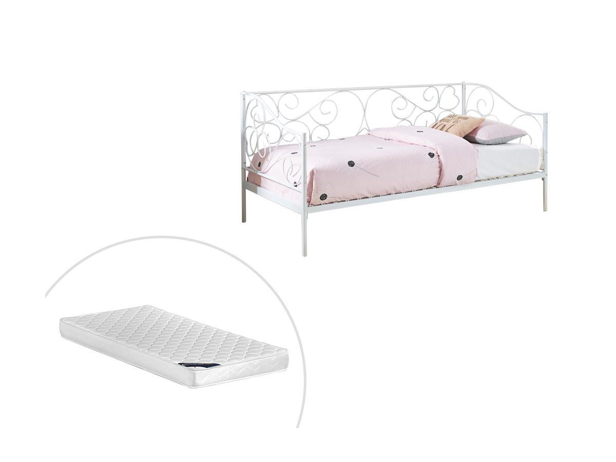 Kinderbett VIVAN - 90 x 200 cm - Weiß + Matratze