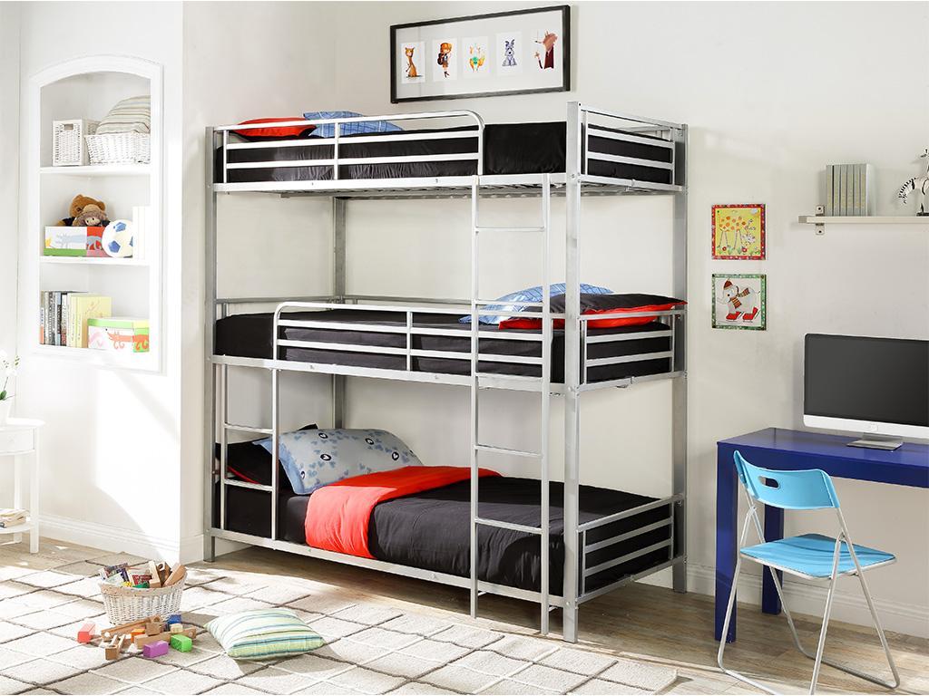 Kauf-unique Etagenbett mit 3 Etagen ELOUAN - 3 x 90 x 190 cm - Grau 494683