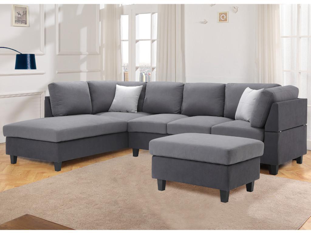 Kauf-Unique Ecksofa mit Sitzhocker Stoff SUKRI - Ecke Links 572257
