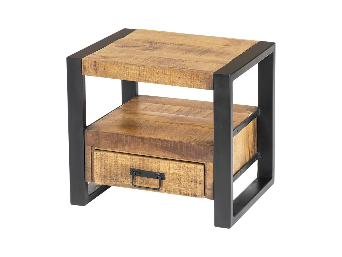 Nachttisch Mangoholz & Metall HARLEM - 1 Schublade & 1 Ablage