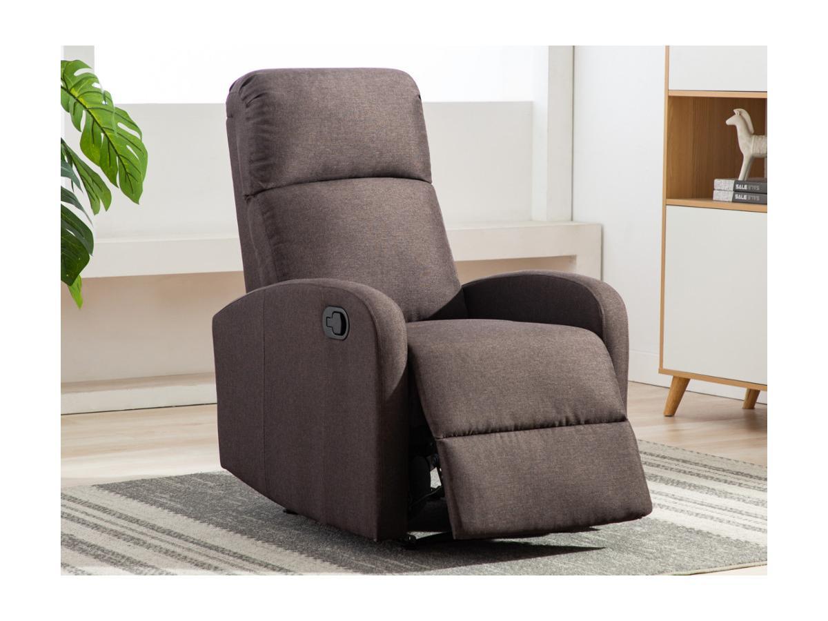 Kauf-Unique Relaxsessel Fernsehsessel ISAO - Stoff - Braun 557365