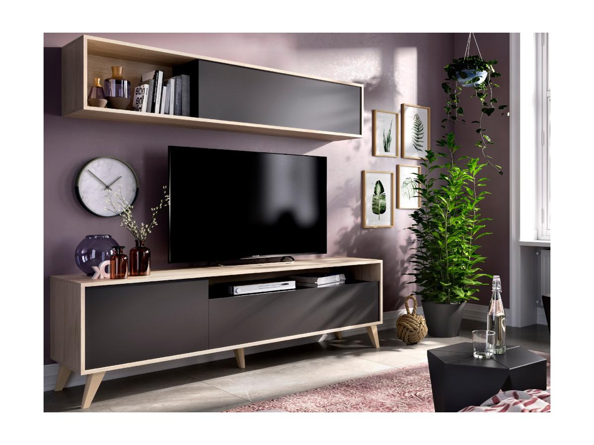 TV-Möbel TV-Wand mit Stauraum ALBORA - Anthrazit & Eichenholzfarben