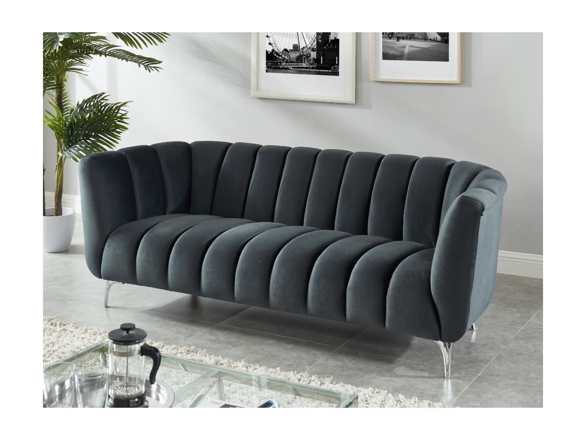 3-Sitzer-Sofa Samt PEGOUM - Anthrazit