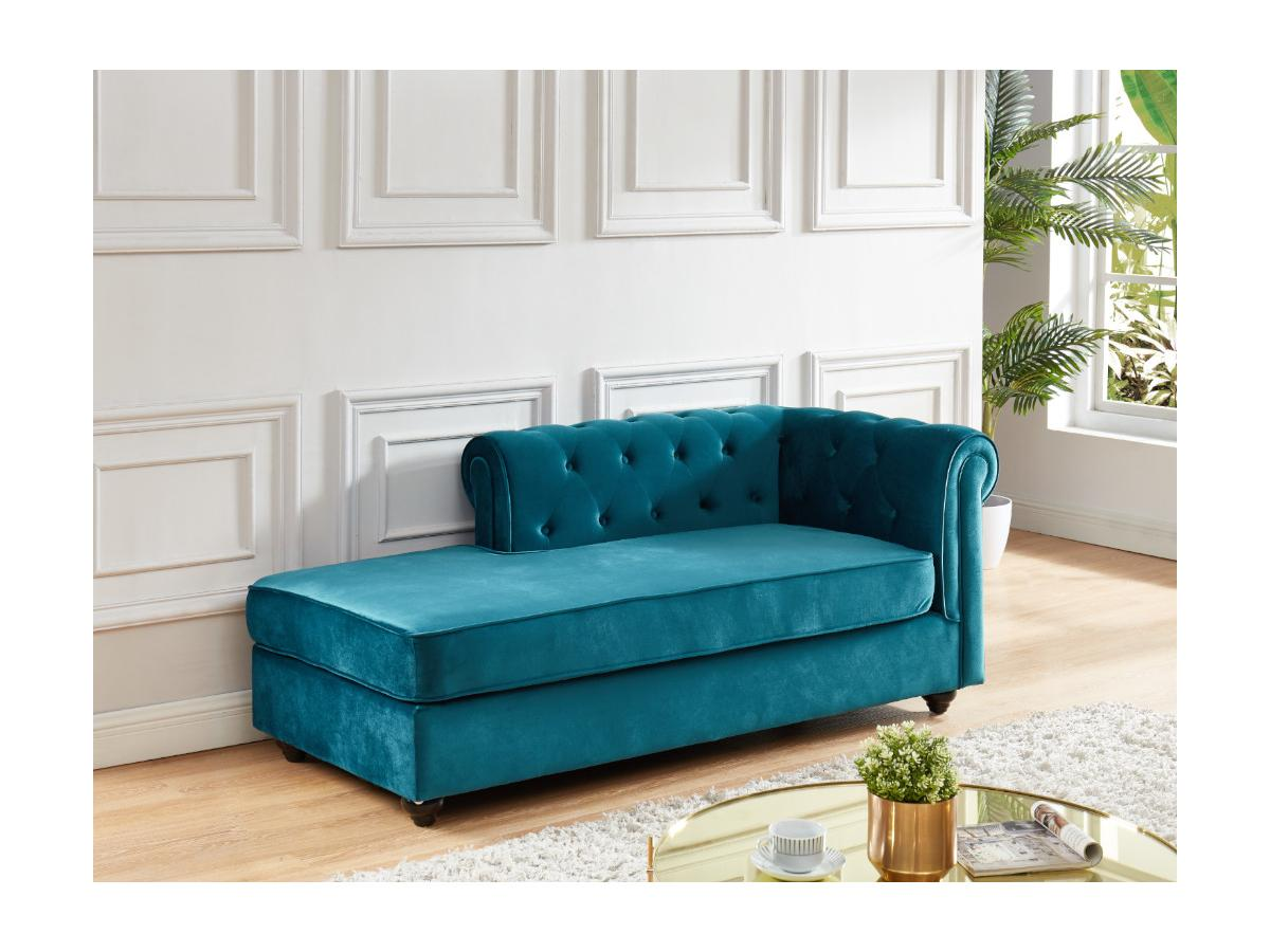 Kauf-Unique Chesterfield Recamiere Rechts SHIREL - Samt - Blau 557513