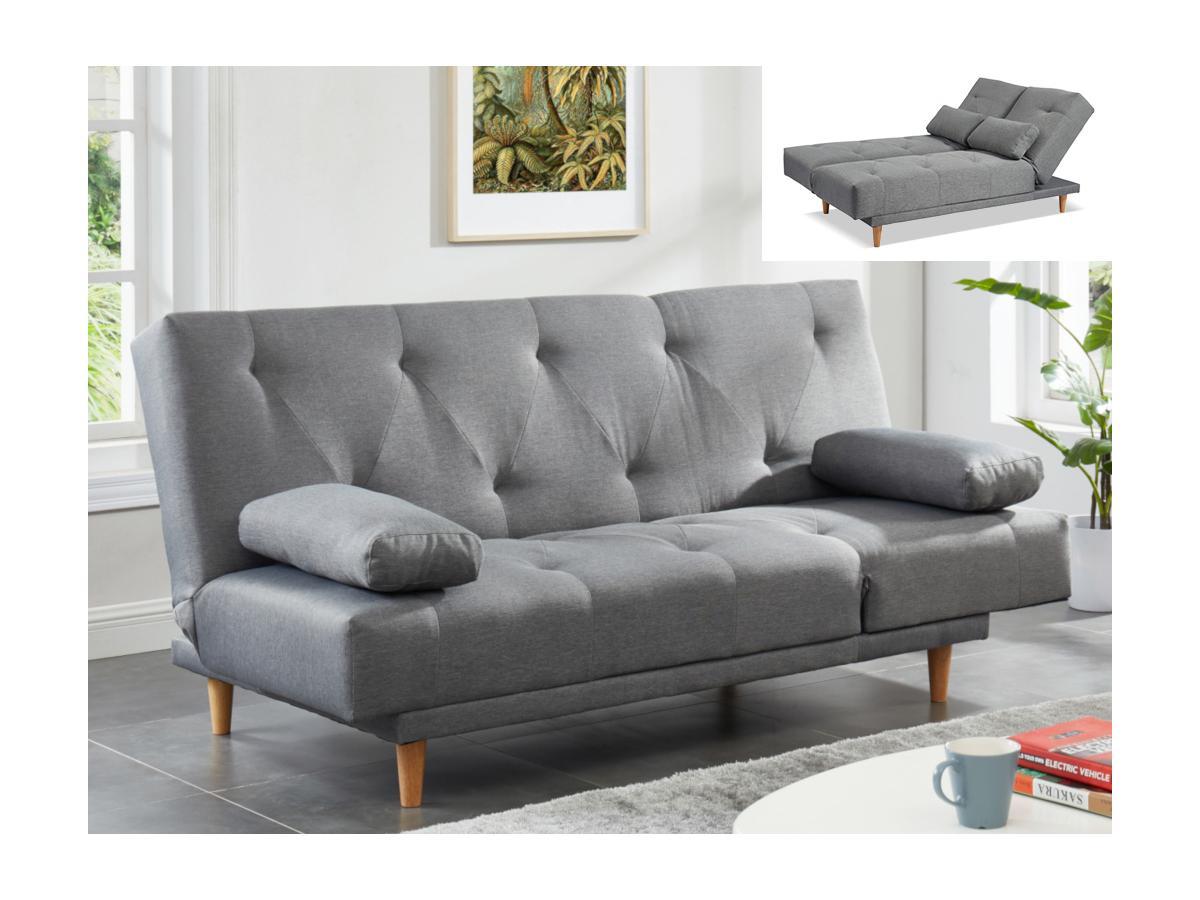 Klappsofa 3-Sitzer Stoff BONZI - Grau