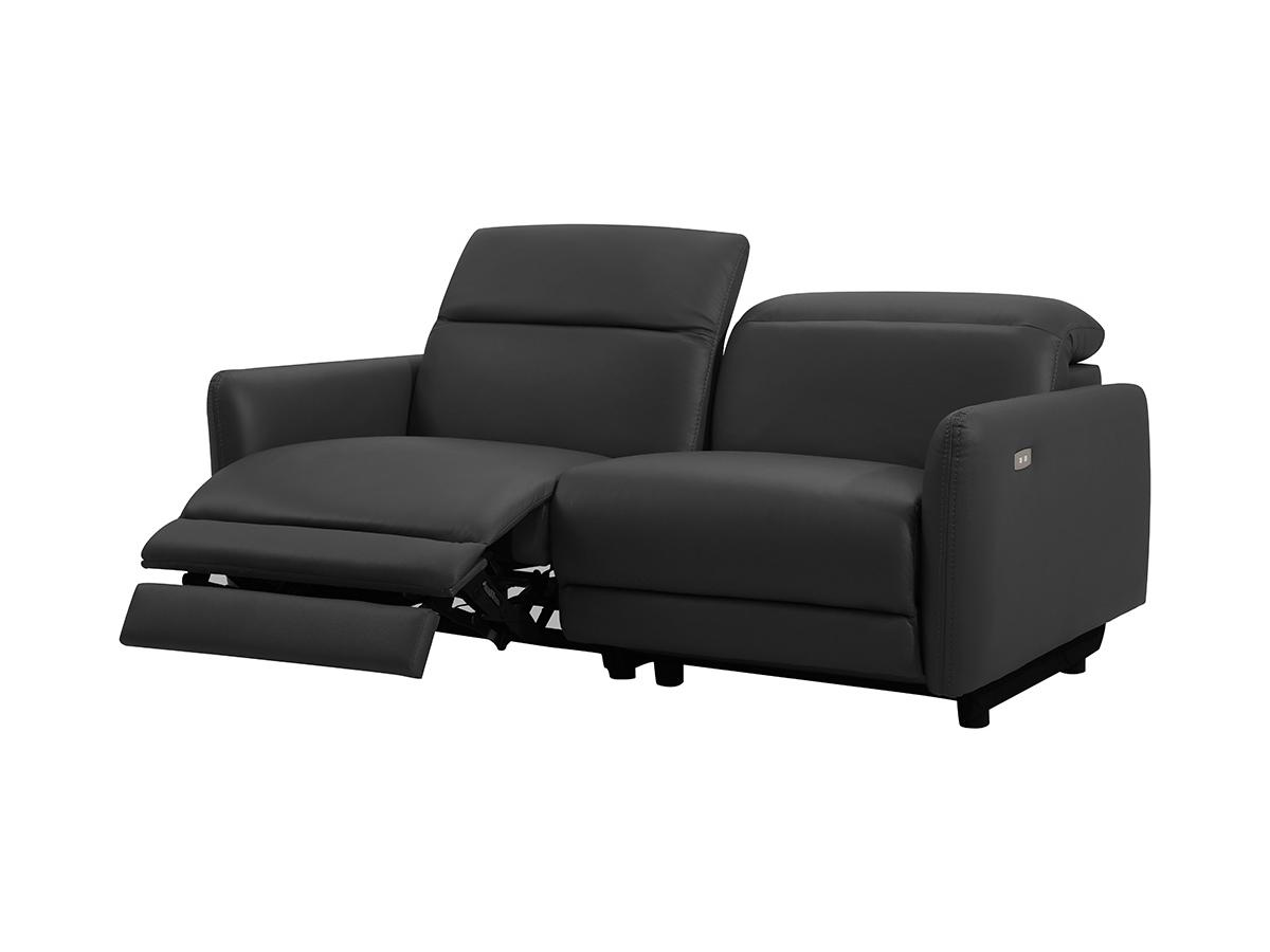 Relaxsofa elektrisch 3-Sitzer CLEOPHEE - Leder - Schwarz