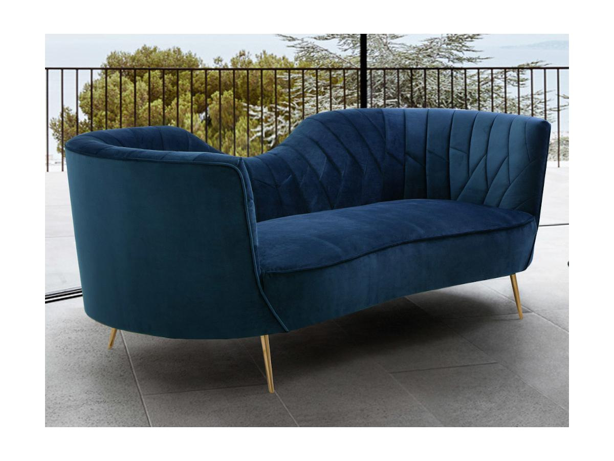 3-Sitzer-Sofa ADELE - Samt - Dunkelblau