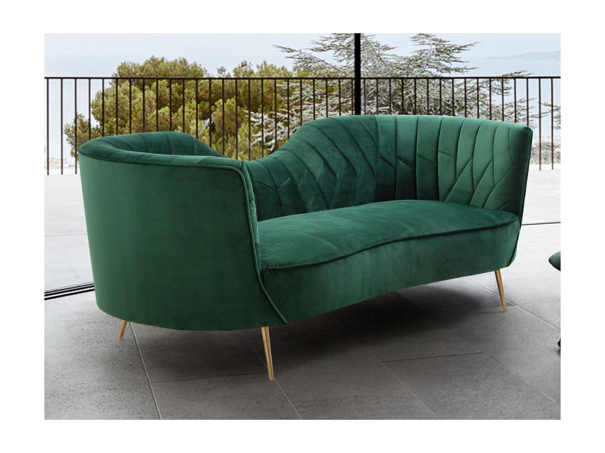 3-Sitzer-Sofa ADELE - Samt - Dunkelgrün