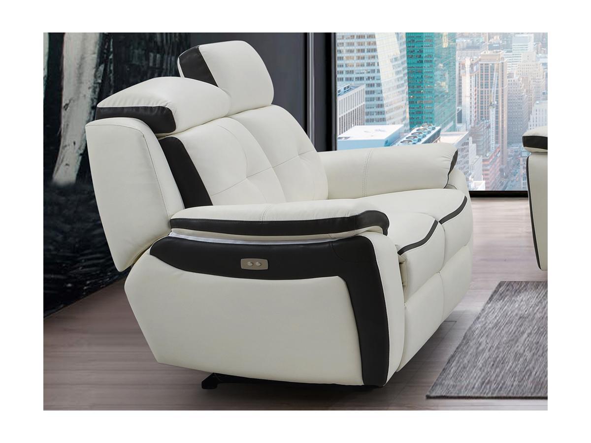 Relaxsofa Leder elektrisch 2-Sitzer ANGELIQUE - Weiß & Anthrazit