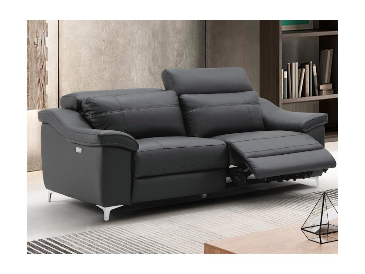 Relaxsofa elektrisch 3-Sitzer CAROLE - Leder - Schwarz