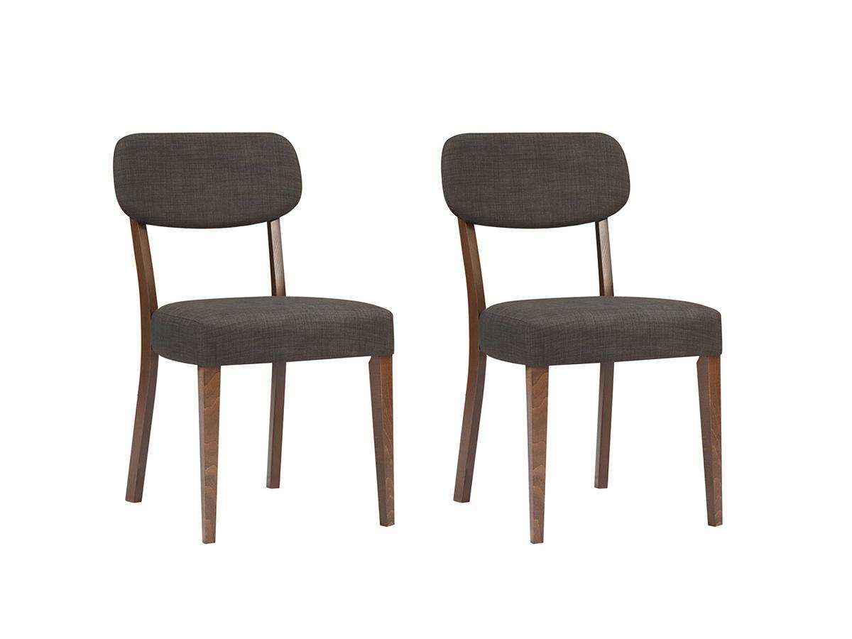 Kauf-Unique Stuhl 2er-Set Holz RUBBEN - Nussholzfarben/Grau 574311