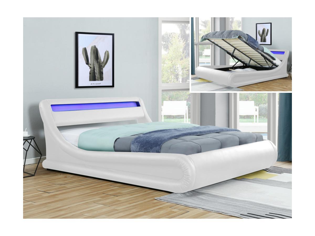 Bett mit Bettkasten & LED-Beleuchtung IRIS - 160 x 200 cm - Weiß