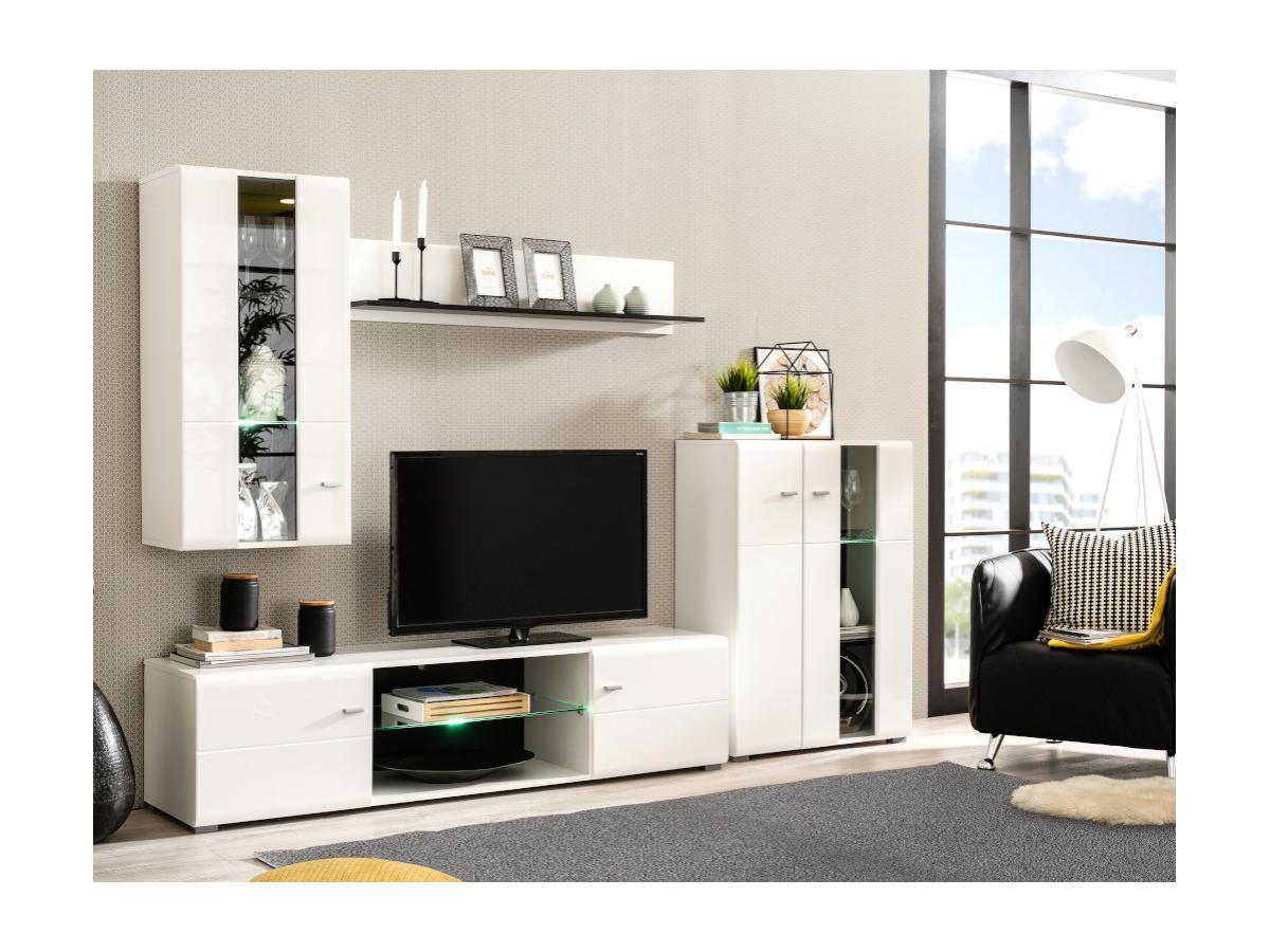 TV-Wand mit Stauraum & LED-Beleuchtung LORETTA