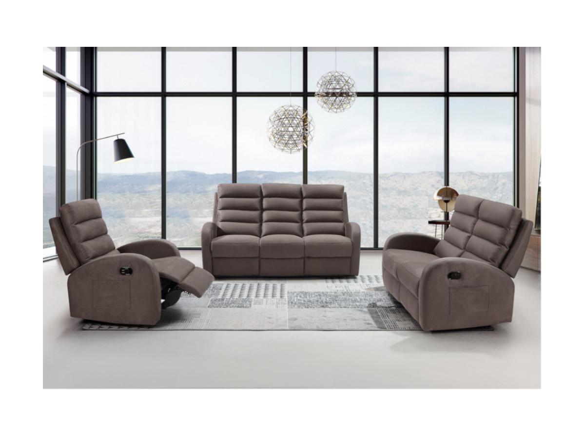 Relaxsofa 3-Sitzer GIORGIA - Stoff - Braun