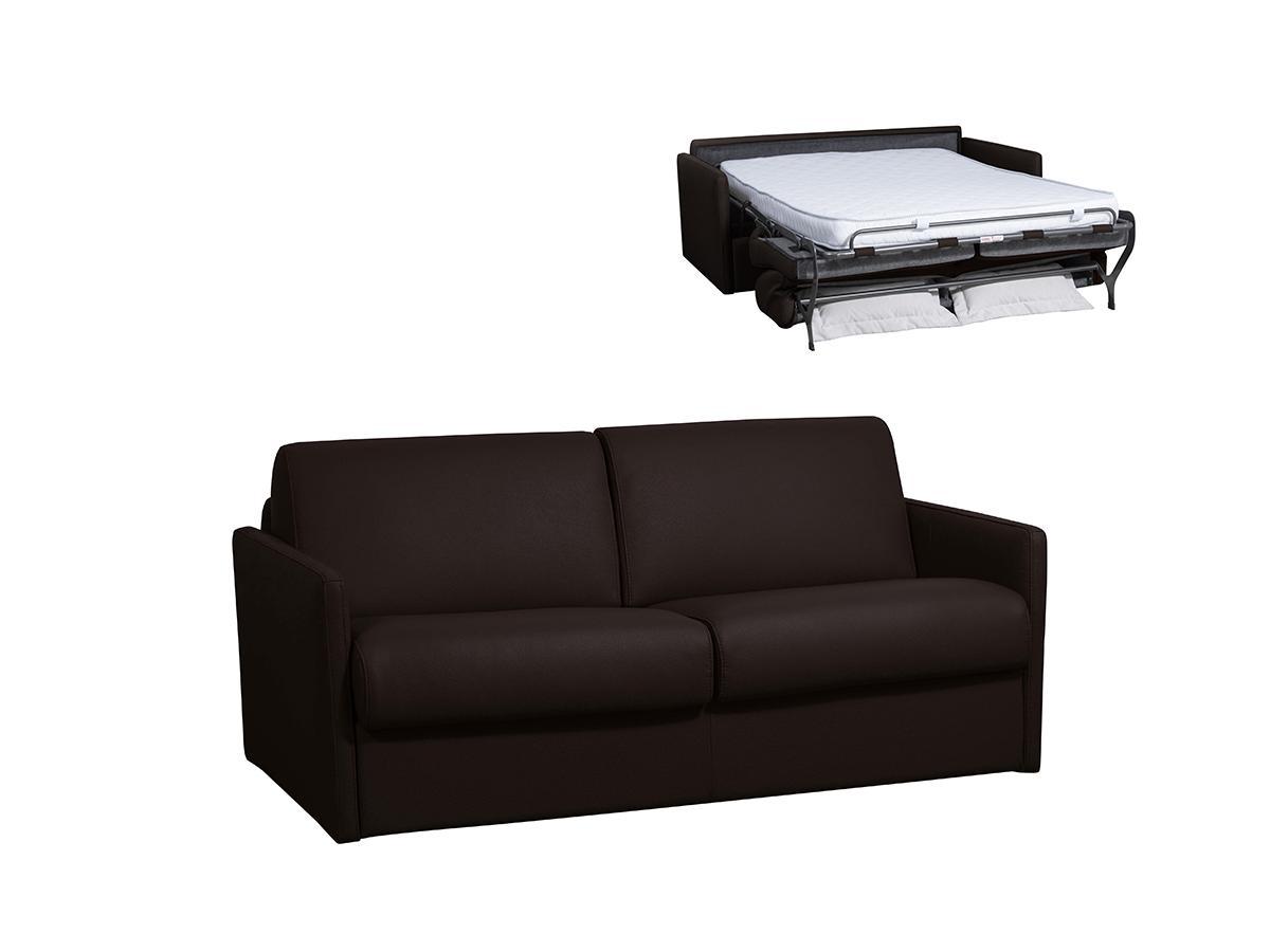Schlafsofa mit Matratze 3-Sitzer NADOA - Leder - Braun