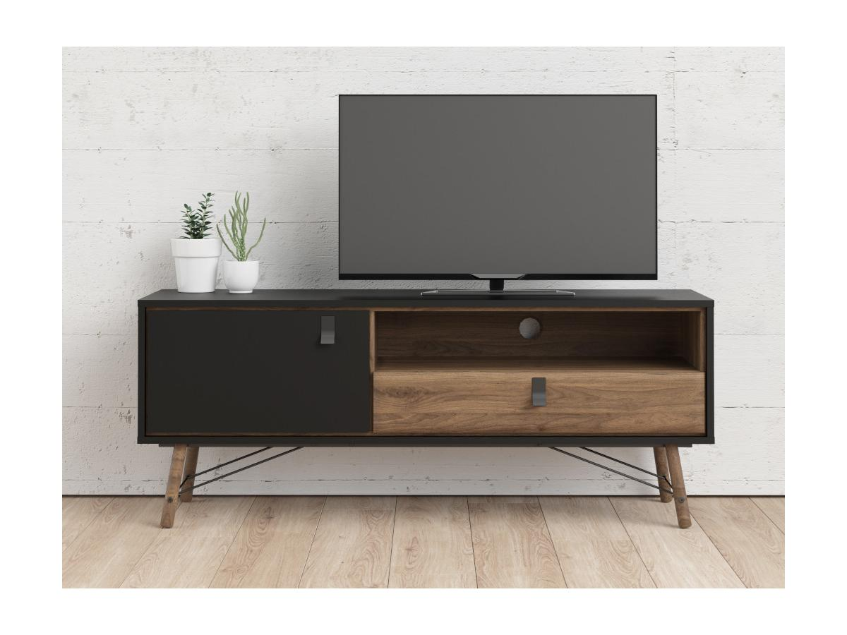 TV-Möbel FURESO - 1 Tür & 1 Schublade - Nussbaumfarben & Anthrazit