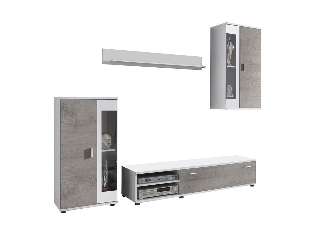 TV-Möbel TV-Wand mit Stauraum & LED-Beleuchtung DYLAN - Betoneffekt & Weiß