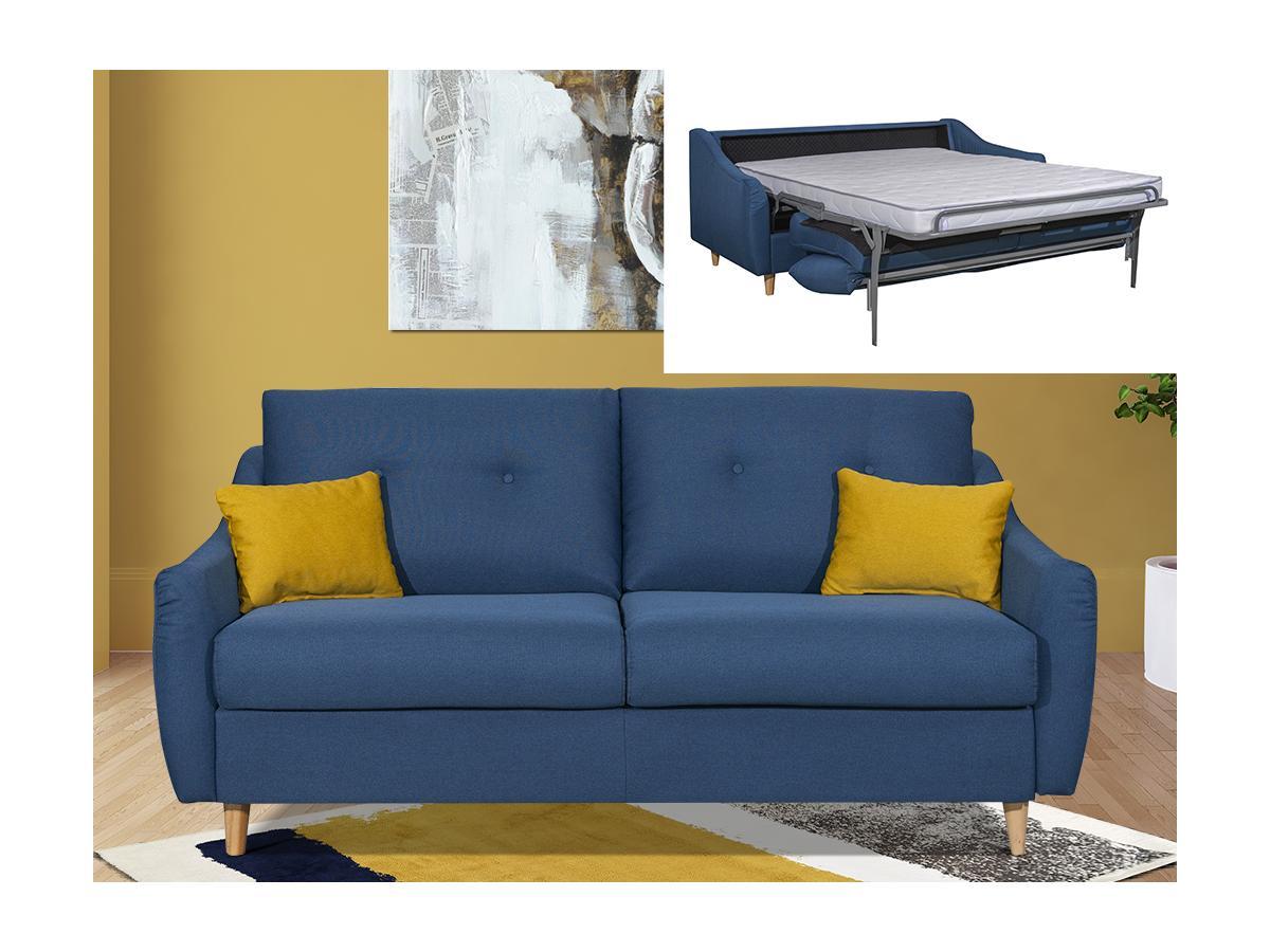 Schlafsofa mit Matratze 3-Sitzer MORANE - Stoff - Blau
