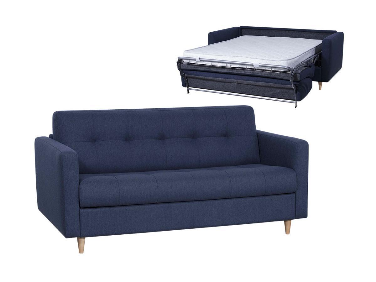 Schlafsofa mit Matratze 3-Sitzer GANOA - Stoff - Blau