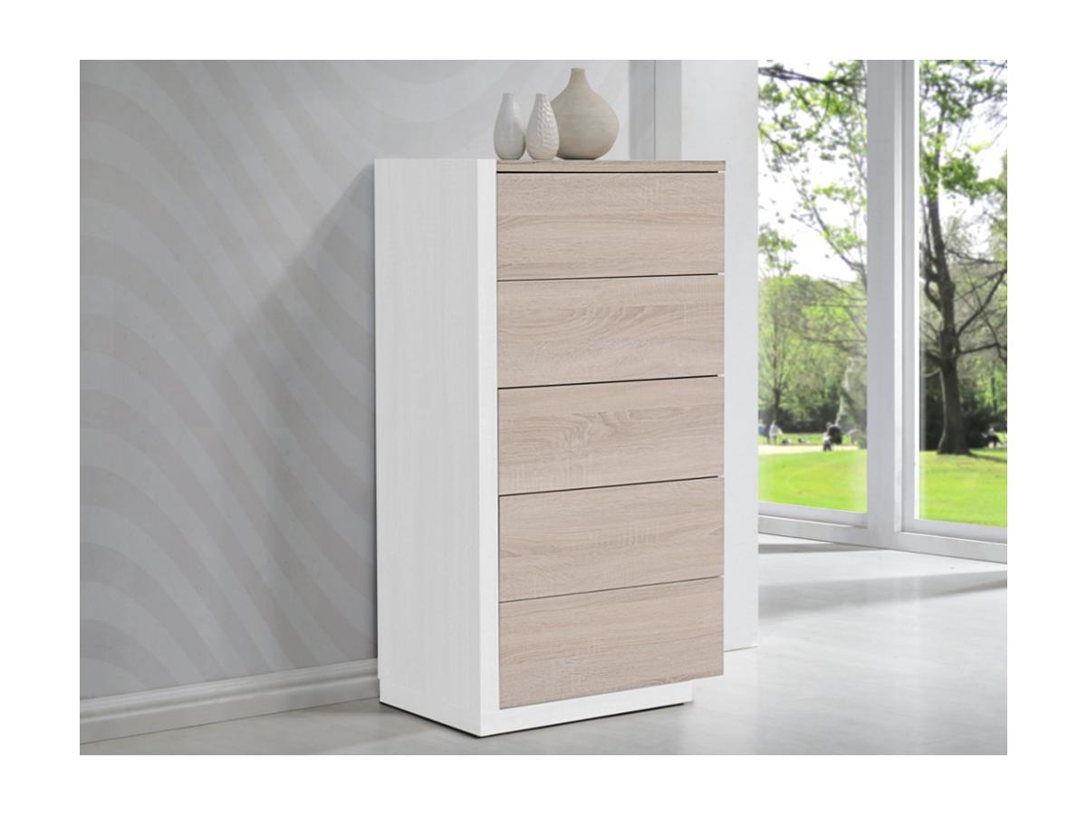 Hochkommode NAPOLI - 5 Schubladen - Eiche & Weiß