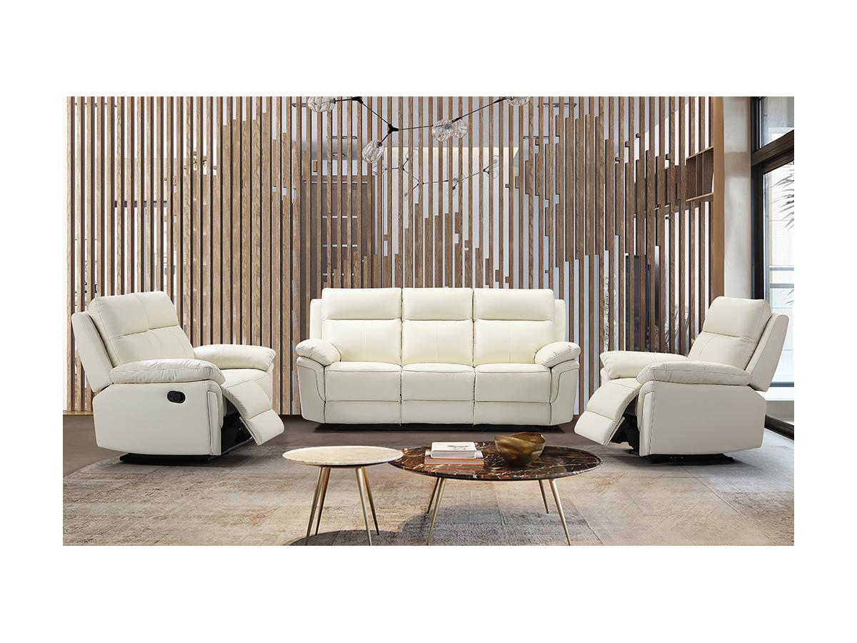 Relaxsofa 3-Sitzer PAKITA - Büffelleder - Elfenbein