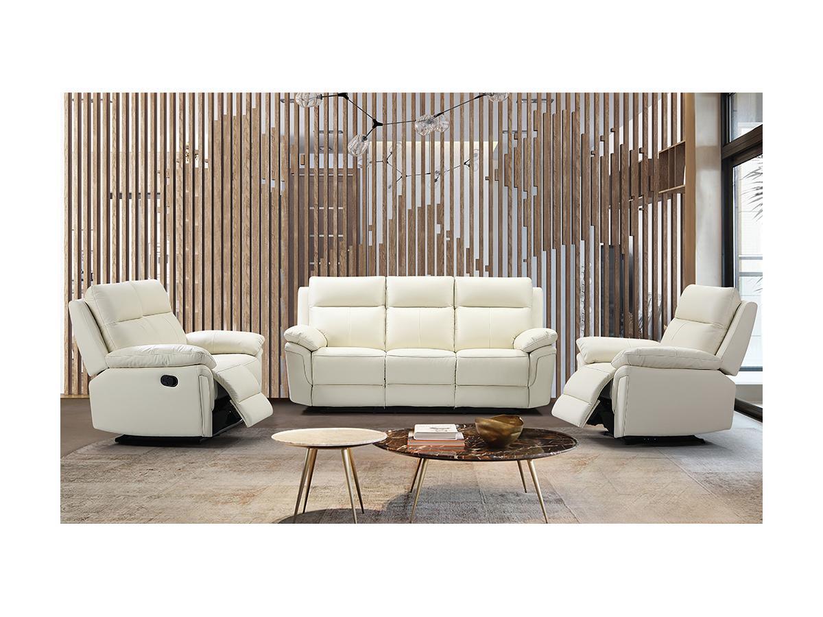 Relaxsofa 2-Sitzer PAKITA - Büffelleder - Elfenbein