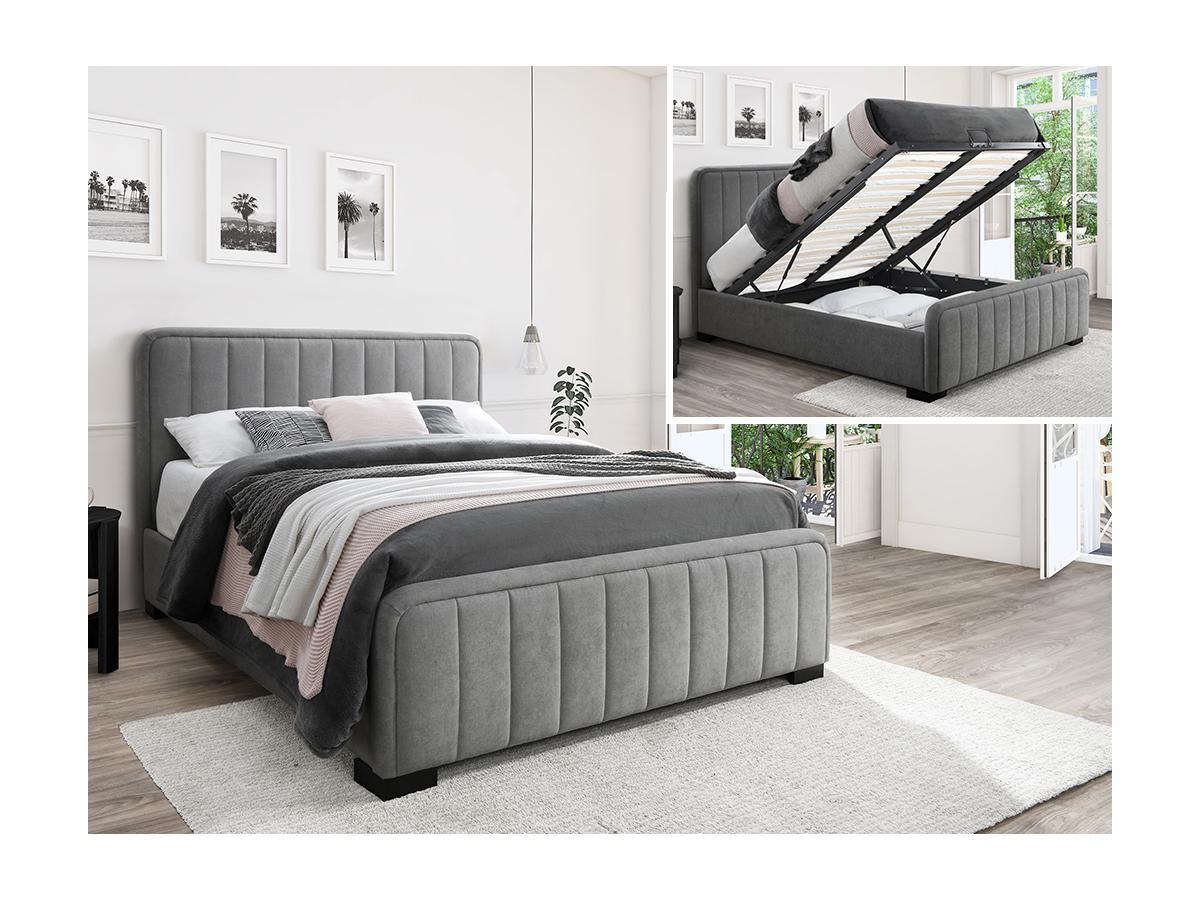 Bett mit Bettkasten und Kopfteil Stoff SERENA - 160x200cm - Wildleder-Optik - Grau