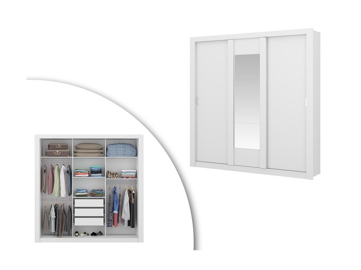 Kleiderschrank mit Spiegel ROXANE - Breite: 220 cm - Weiß