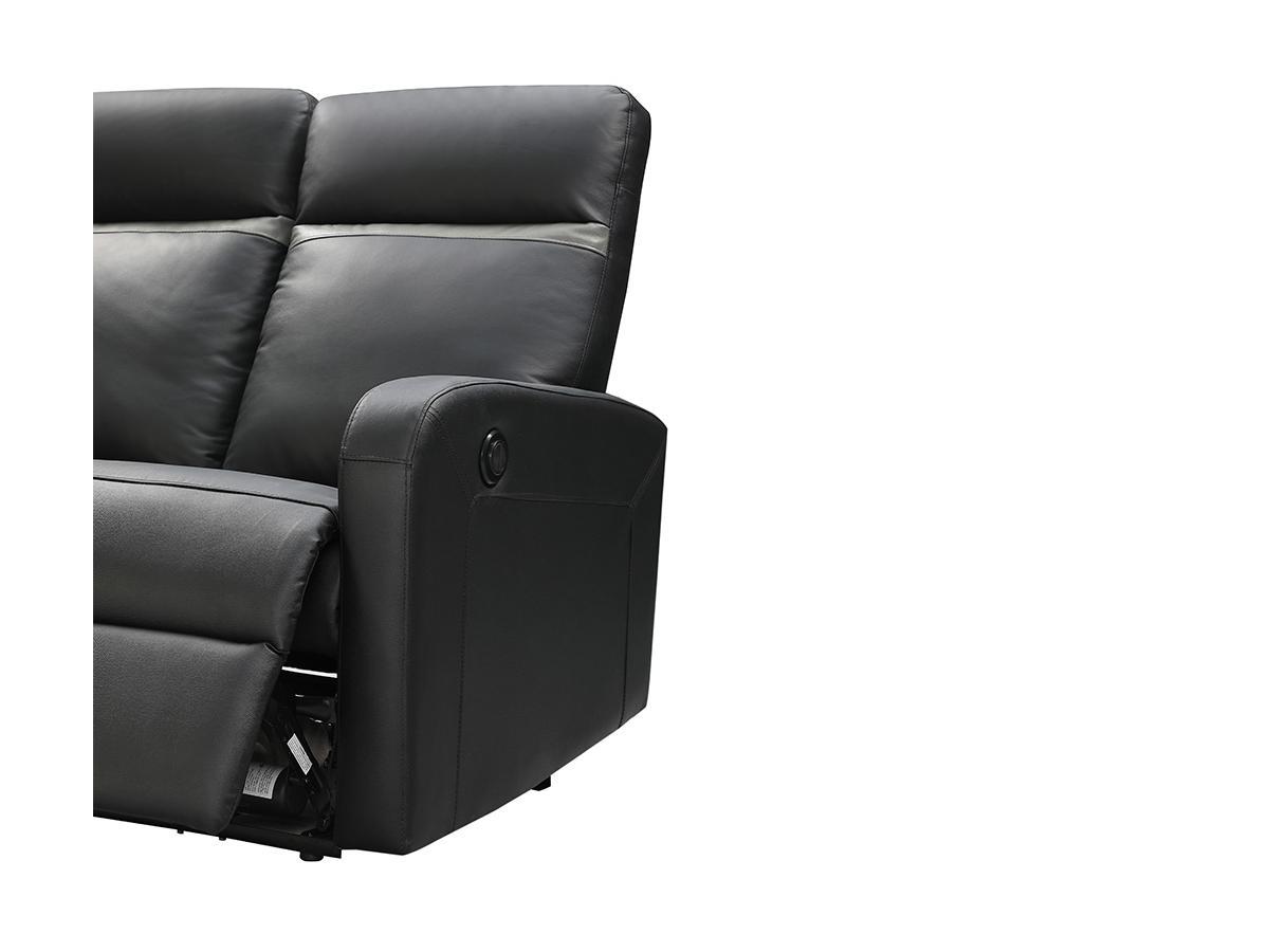 Relaxsofa 3-Sitzer elektrisch ABERDEEN - Leder - Schwarz mit anthrazitfarbenem Streifen