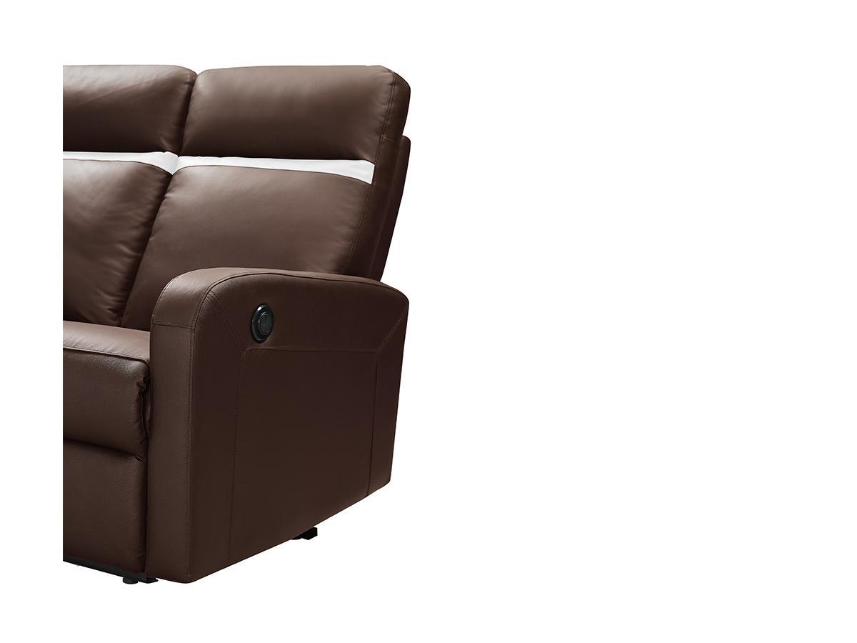 Relaxsofa 2-Sitzer elektrisch ABERDEEN - Leder - Braun mit elfenbeinfarbenem Streifen