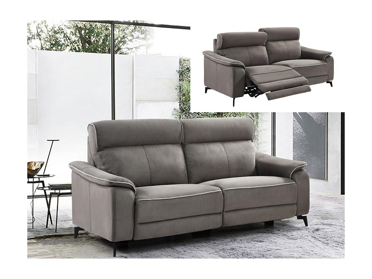 Relaxsofa elektrisch 3-Sitzer BACCI - Stoff - Grau