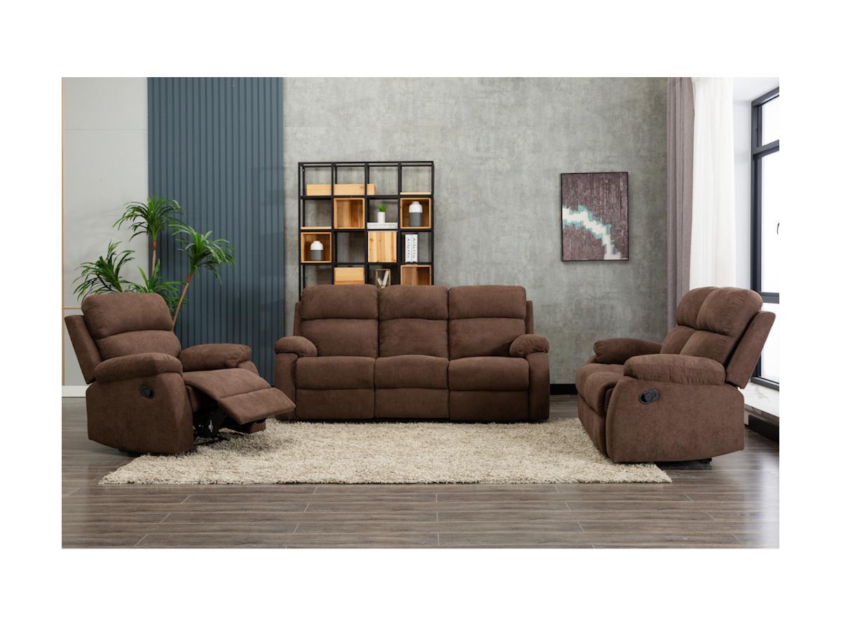 Relaxsofa 3-Sitzer TOLZANO - Stoff - Braun