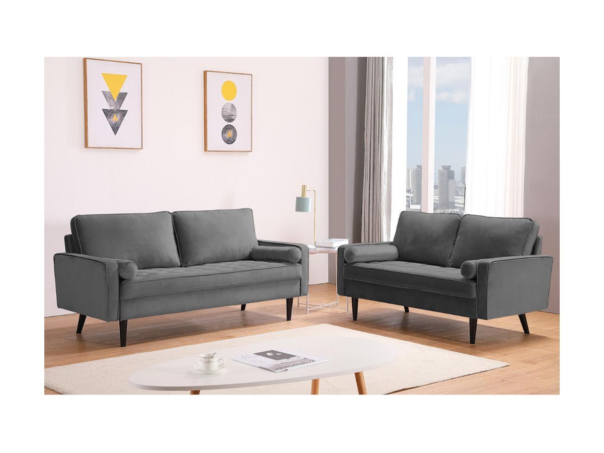 3-Sitzer-Sofa FLEUET - Samt - Grau