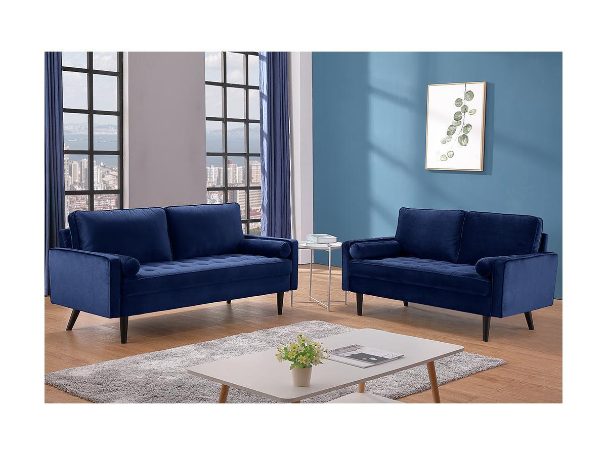 3-Sitzer-Sofa FLEUET - Samt - Dunkelblau