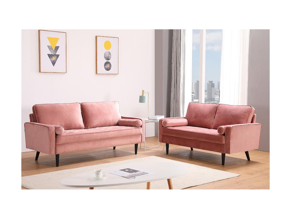 3-Sitzer-Sofa FLEUET - Samt - Altrosa