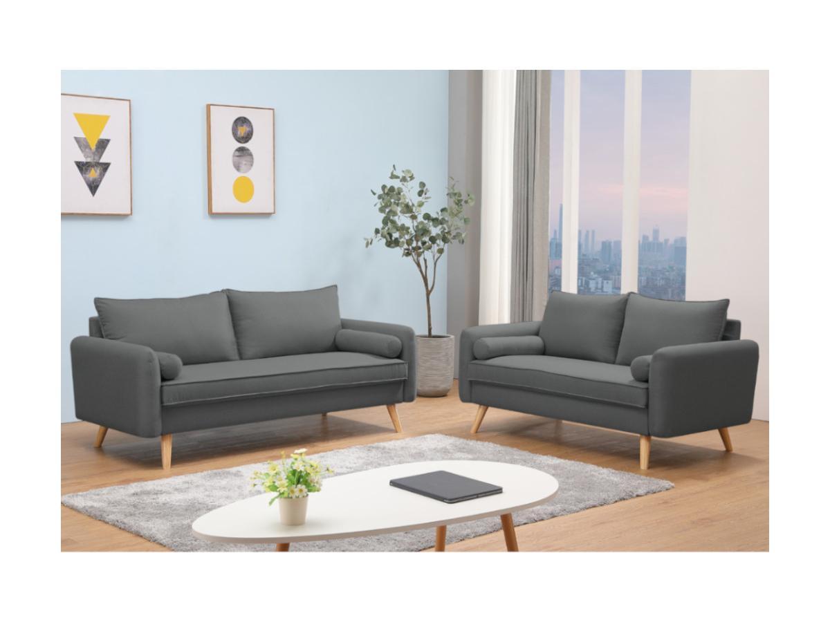 3-Sitzer-Sofa RAPAZAN - Stoff - Anthrazit