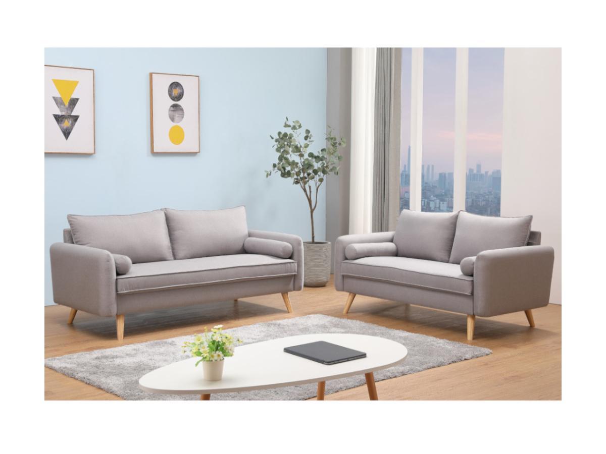 3-Sitzer-Sofa RAPAZAN - Stoff - Hellgrau