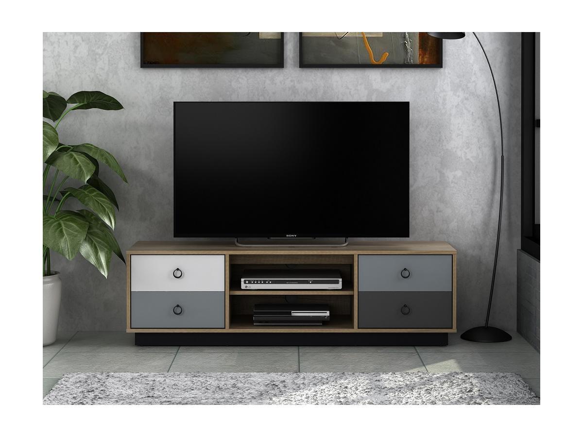 TV-Möbel KRYPTON - 2 Türen - Eiche, Weiß & Grau