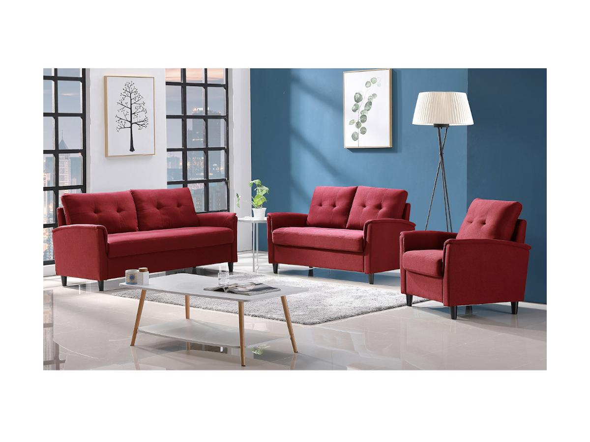 3-Sitzer-Sofa mit Stauraum NEYLI - Stoff - Rot