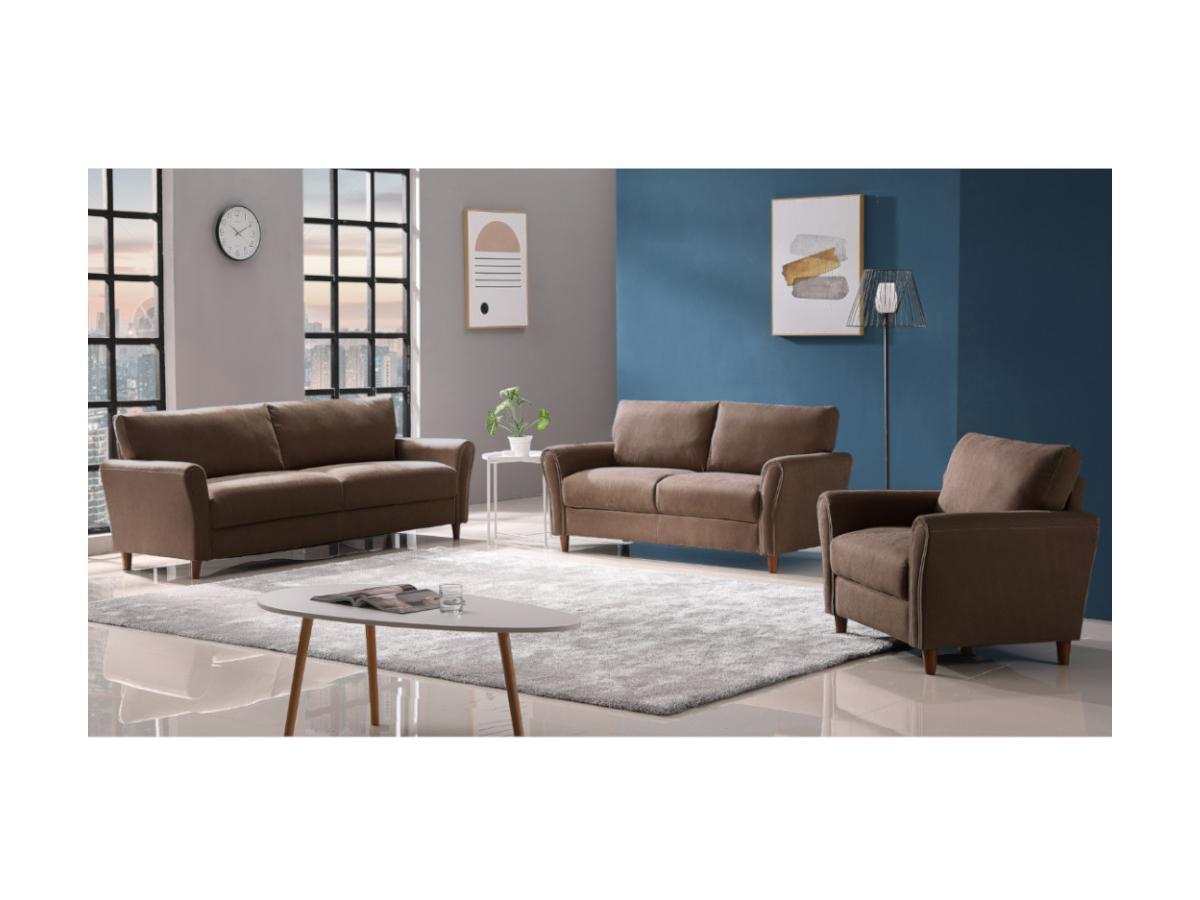3-Sitzer-Sofa ELALY - Stoff - Braun