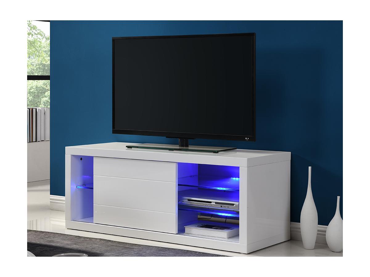 TV-Möbel mit LED-Beleuchtung AMALRIC - Holz (MDF) - Weiß