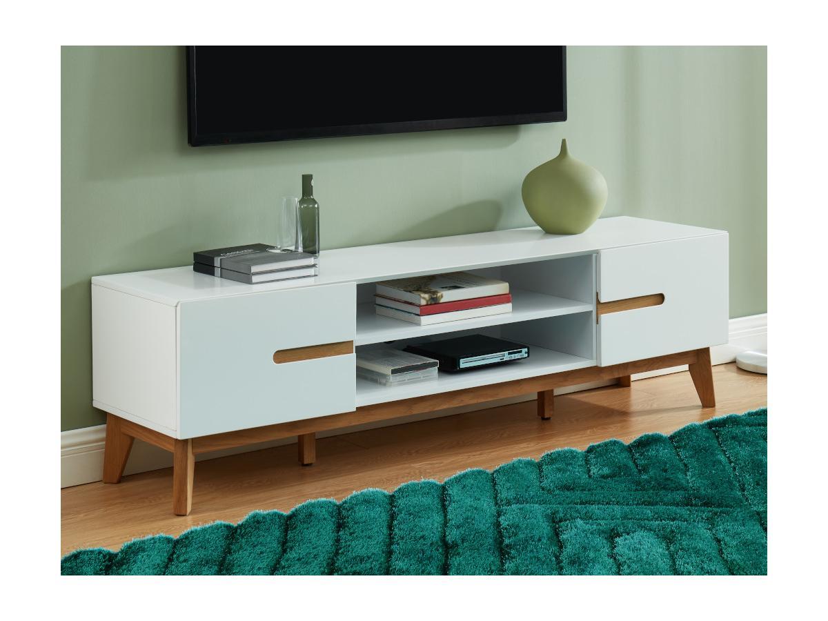 TV-Möbel LAPONI - 2 Türen & 2 Ablagen - MDF lackiert - Weiß