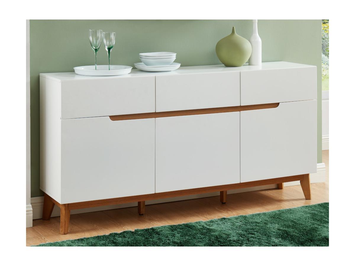 Sideboard LAPONI - 3 Türen & 3 Schubladen - MDF lackiert - Weiß