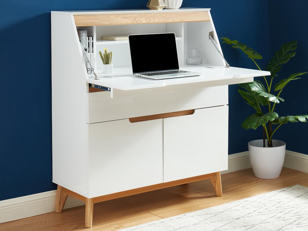 Kauf-Unique Sekretär LAPONI - 2 Türen & 2 Schubladen - MDF lackiert - Weiß 649969