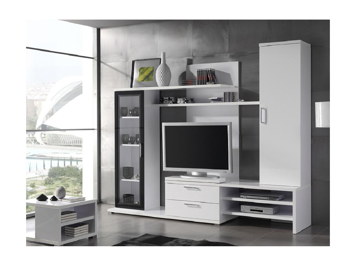 TV-Wand TV-Möbel mit Stauraum WARREN - Weiß lackiert
