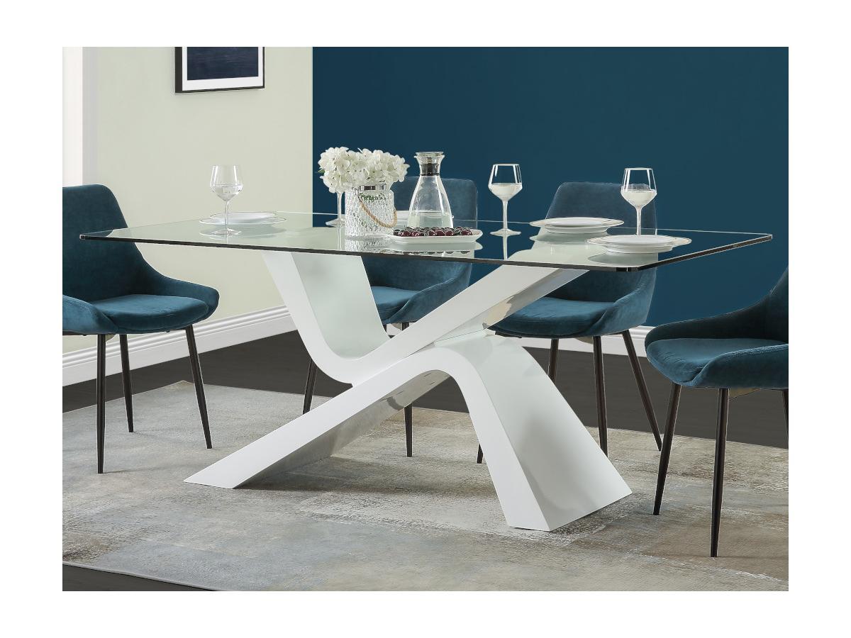 Esstisch TEMPO - Glas & Holz - Weiß lackiert