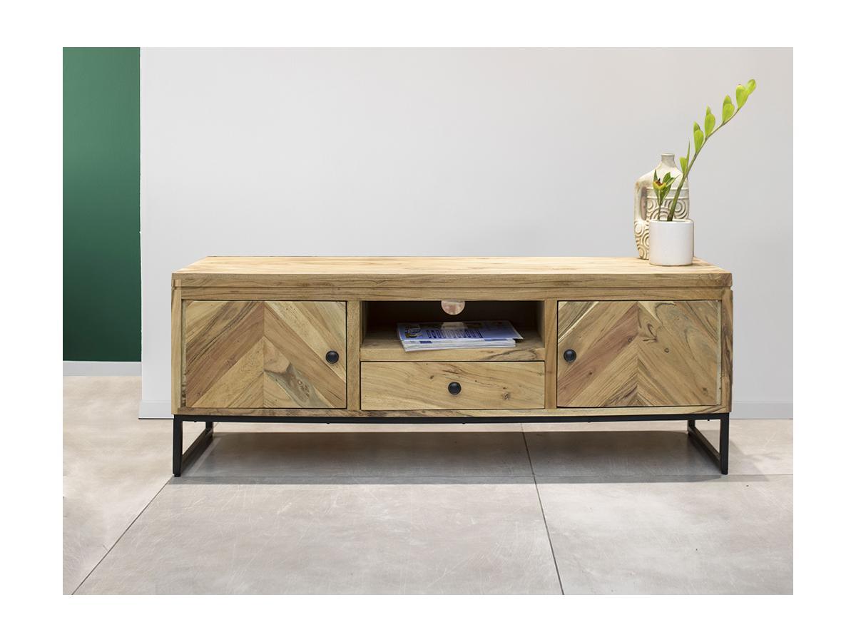TV-Möbel TEXAS - 2 Türen & 1 Schublade - Akazie & Metall